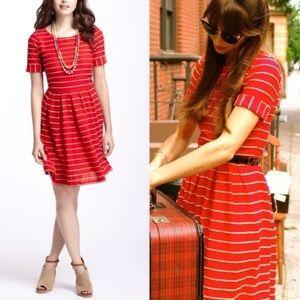 Anthropologie bordeaux striped dress, sz M